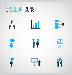 management icons colored set with team building vector image
