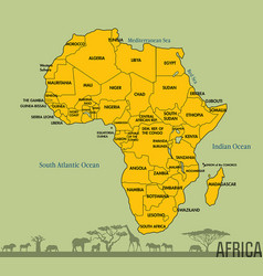 map of africa with all countries vector image