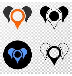 map pointers eps icon with contour version vector image