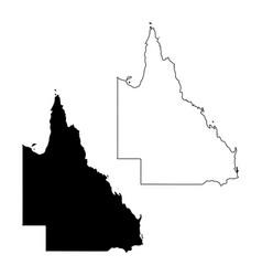 Map queensland australia black and outline vector