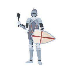Medieval knight standing in armor holding shield vector