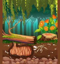 Nature scene with animal bones underground vector