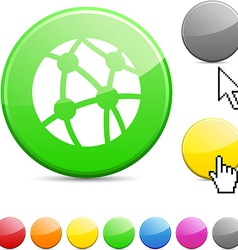 Network glossy button vector image