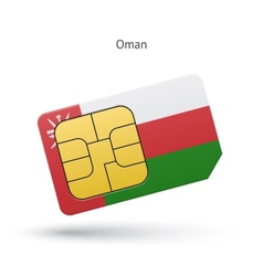 Oman mobile phone sim card with flag vector image