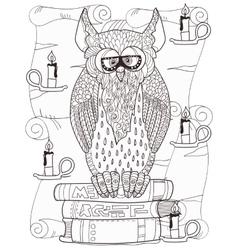 Owl on books vector
