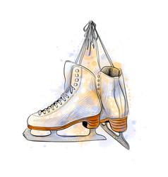 Pair figure ice skates from a splash vector