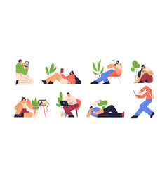 people reading e book and using gadgets vector image