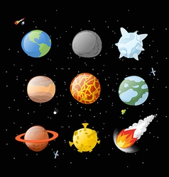 Planet set dark background Dark space Planets of vector image