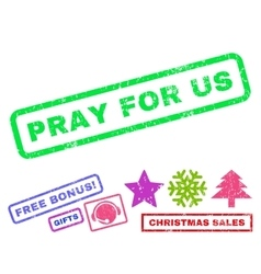 Pray For Us Rubber Stamp vector image