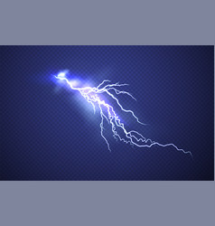 realistic lightning effect isolated on clear dark vector image