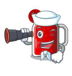 Sailor with binocular tasty tomato juice on vector