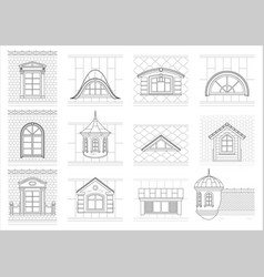 Set classic attic windows for facade vector