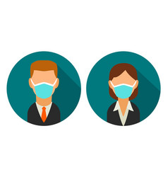 Set icon male and female faces business avatars vector
