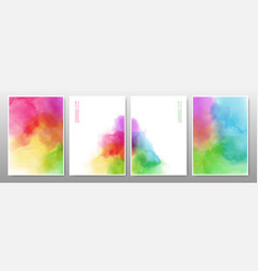 set rainbow watercolor background vector image