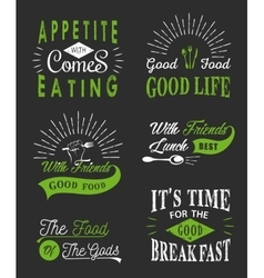 set vintage food typographic quotes vector image