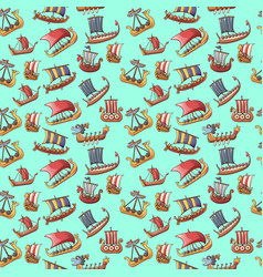 ship pattern seamless cartoon style vector image