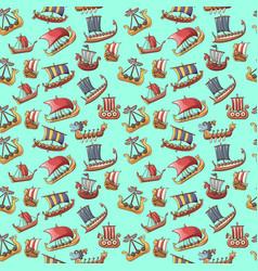 Ship pattern seamless cartoon style vector