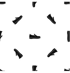 shoes pattern seamless black vector image