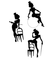 Silhouettes of perfomance burlesque artist vector image