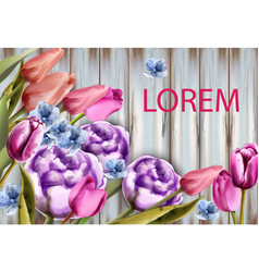 spring bouquet on wooden background tulips and vector image