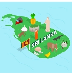 Sri Lanka map concept isometric 3d style vector