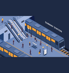 subway isometric composition vector image