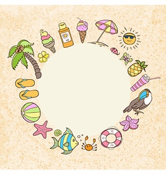 Summer decorative round banner vector