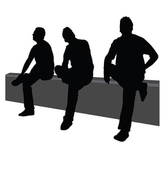 Three men sit on fence vector