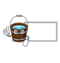 thumbs up with board wooden bucket character vector image