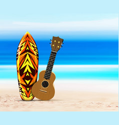 Ukulele guitar and surfboard on beach against vector