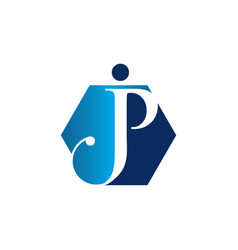 Unique initial jp letter linked symbol vector