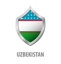 uzbekistan flag on metal shiny shield vector image