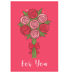 valentine s day card with a bouquet roses graphics vector image