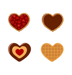 Valentines day set cookies and waffles in vector