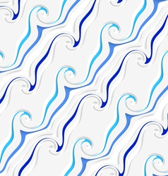 White curved lines and swirls perforated blue vector