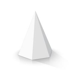 White hexagonal pyramid vector