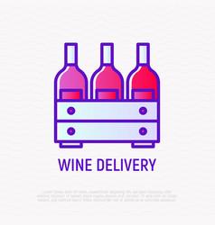 wine box thin line icon vector image