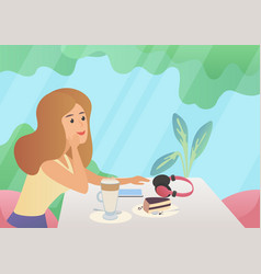 woman with a cup of coffee and cake dessert vector image