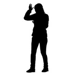 black silhouettes of beautiful woman on white vector image vector image