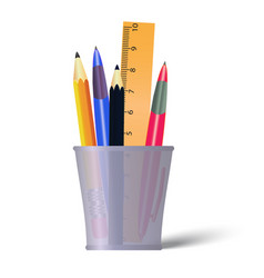 pen and pencils container holder with pencils vector image vector image