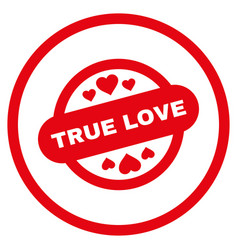 true love stamp seal rounded icon vector image
