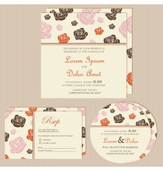 wedding invitation cards with roses vector image vector image