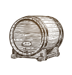hand drawn vintage wooden wine cask drink oak vector image vector image