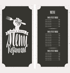 menu on black background with fork in hand vector image