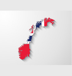 Norway map with shadow effect presentation vector image vector image