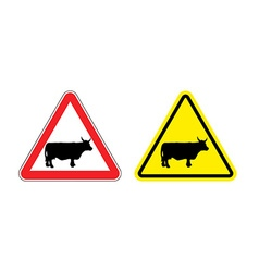 Warning sign attention cow Hazard yellow sign vector image vector image