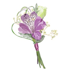 boutonniere with alstroemeria and eustoma vector image vector image