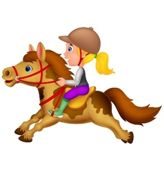 Cartoon Little girl riding a pony horse vector image