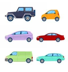 City cars icons set with sedan van vector