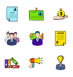 Contract icons set cartoon style vector